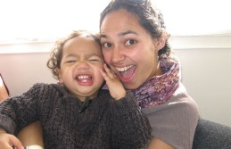 060810 News Photo: Sarah Moyes/East & Bays Courier. The Big Latch On - breast feeding event. Tara Moala with 15 month old son Milan. biglatch01