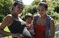 Photo: Amelia Jacobsen/Auckland Suburban Newspaper. Ms Tara Joe, Programme Coordinatorfor the young mums support programme at Te Waipuna Puawai in Ellerslie with Miss Sarah Bailey 18 and daughter Leilah Bailey 7 months from Panmure.
